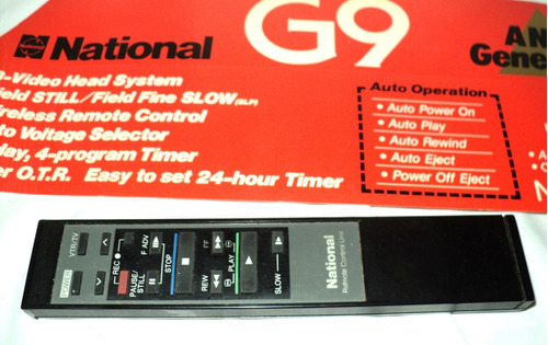 control remoto de video grabadora national