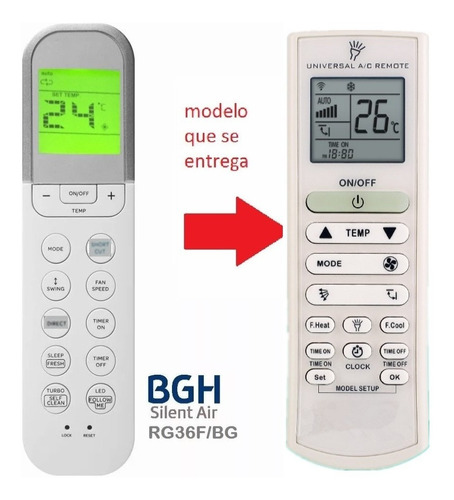 control remoto para aire acondicionado bgh rg36a / bgef univ