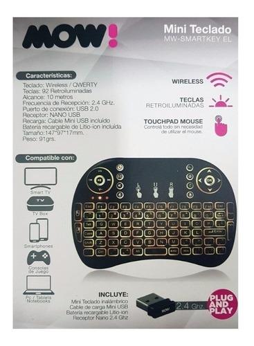 control remoto teclado inalambrico luz led smart tv pc box