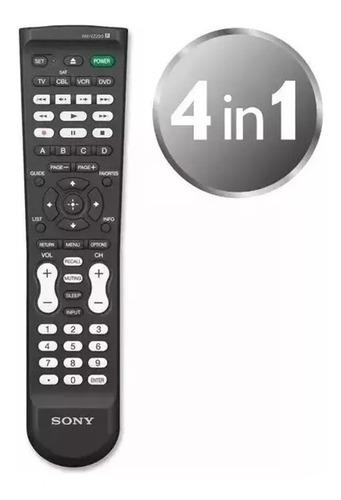 control remoto universal 4en1 sony rm-vz220 tv dvd vcr blu-ray hd-dvd cbl