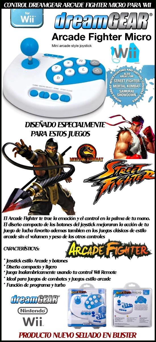 Control Wii Arcade Fighter Original Dreamgear Juegos Pelea Bs