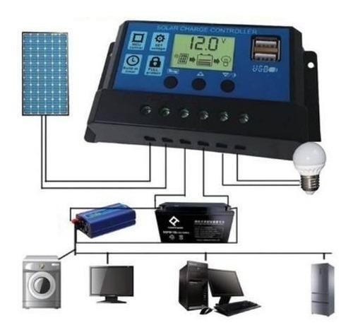 controlador carga solar 20a p/ painel regulador bateria +usb