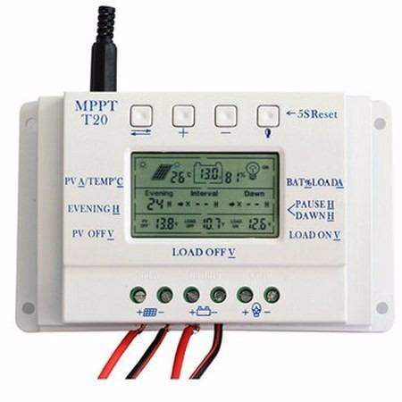controlador de carga mppt 20a painel solar 12/24v + par mc4