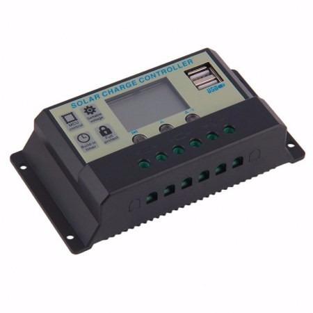 controlador de carga painel solar 20a 12/24v visor lcd usb