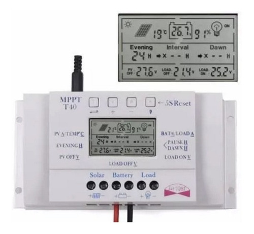 controlador de carga para painel solar 40a mppt 12/24v