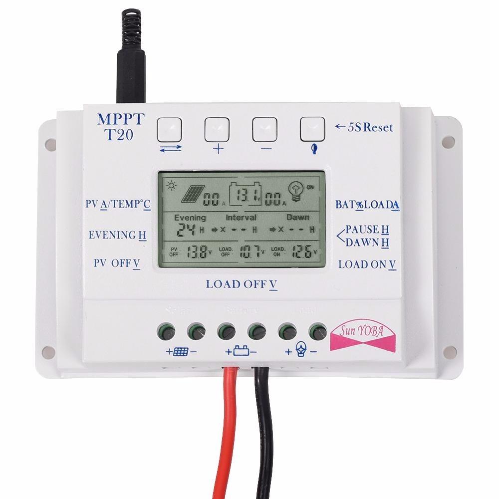 Controlador De Carga Solar 20a Mppt 12 24v T20 Dupla
