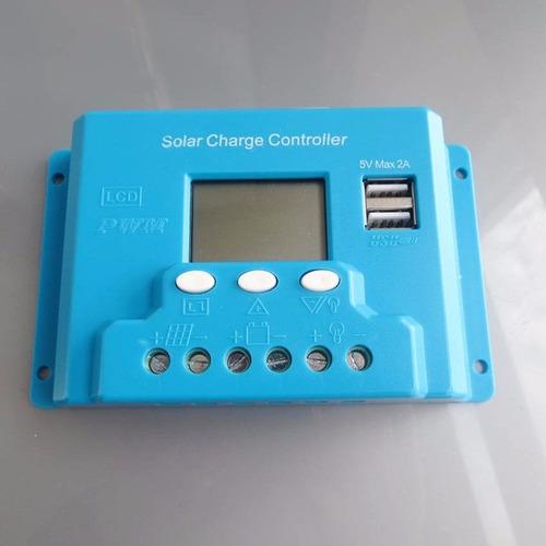 controlador de carga solar 30 amps 12/24 volt display y usb