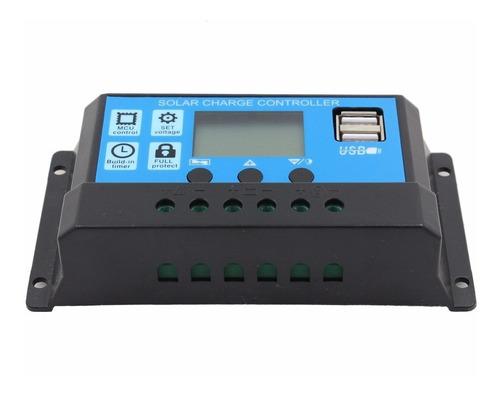 controlador de carga solar 30a 12/24v pwm com lcd e usb