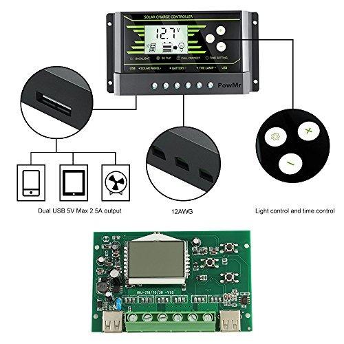 controlador de carga solar powmr 30a controlador de carga de