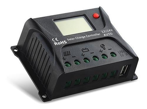 controlador de carga solar pwm  hp 10a 12/24v visor e usb