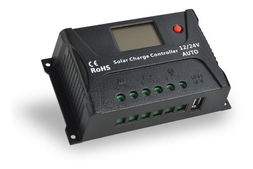 controlador de carga solar pwm hp 20a 12/24v visor e usb