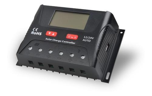 controlador de carga solar pwm hp 40a 12/24v visor e usb