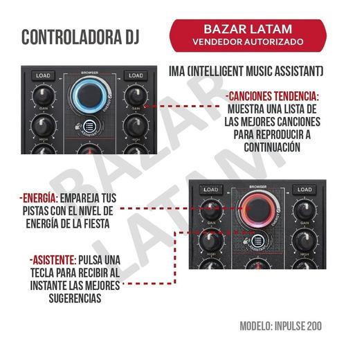 controlador dj hercules inpulse 200 + placa sonido + 8 pads