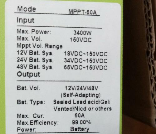 controlador mppt panda 60a 12/24 / 48v