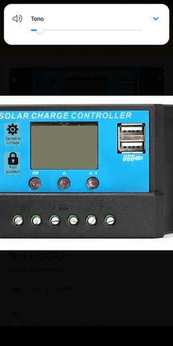 controlador regulador energía solar panel 30amperios