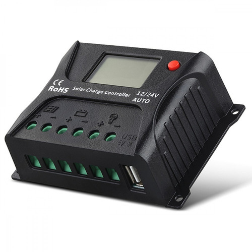 controlador regulador solar 10a, display lcd, usb sr-hp2410