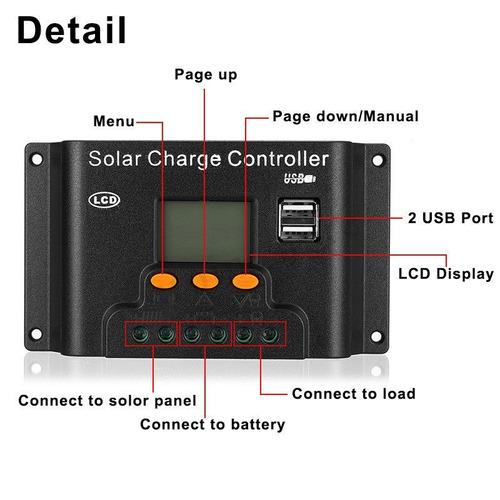 controlador solar usb 60a 12v 24v pwm envio imediato