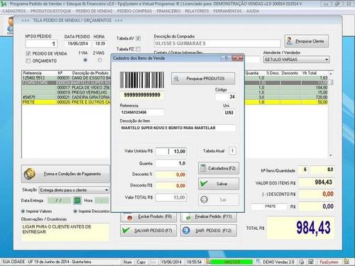 controle de estoque, financeiro, caixa, pedido de vendas 2.0