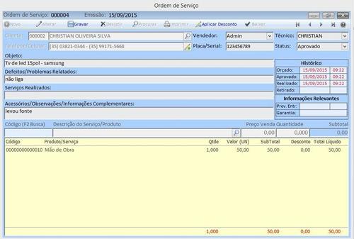 controle de ordem de serviço, os, estoque, sistema, software