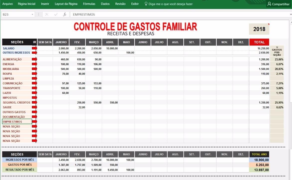 controle gastos pessoal e familiar planilha excel r 12 00 em