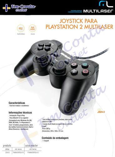 controle playstation 2 ps2 joystick dual shock multilaser