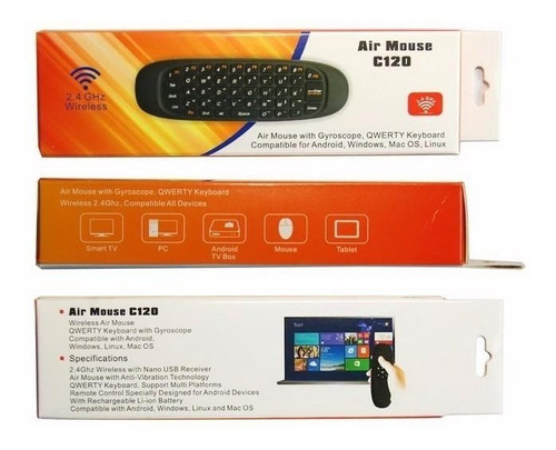 controle remoto air mouse c120 computador tv box projetor pc