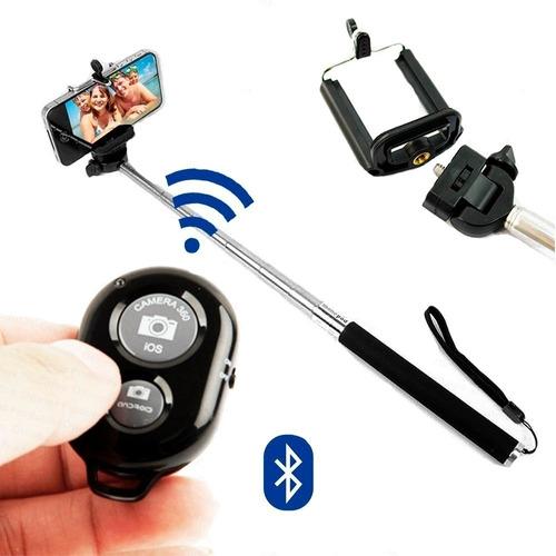 controle remoto bluetooth shutter + monopod + adap. celular