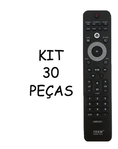 controle tv philips lcd led teem 7023 kit 30 pçs atacado