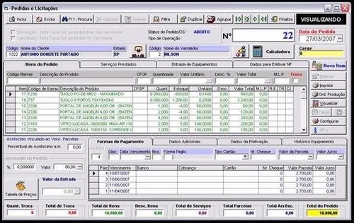 controle vendas, estoque, pdv, ordem de serviço, caixa, etc.