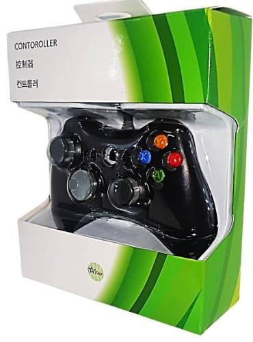 controle xbox 360 c/ fio joystick pc slim usb