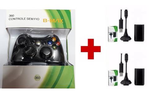 controle xbox 360 sem fio + 2 baterias carregador 30.000 mah