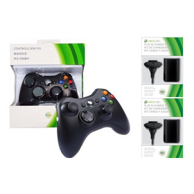 Controle Xbox 360 Wireless Sem Fio + 2 Baterias Cabo Usb