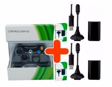 controle xbox 360 wireless sem fio + 2 baterias carregadores