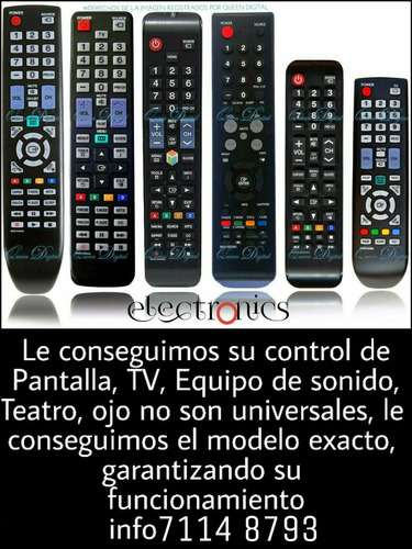 controles: tv, pantallas, equipos de sonido, dvd, teatros..