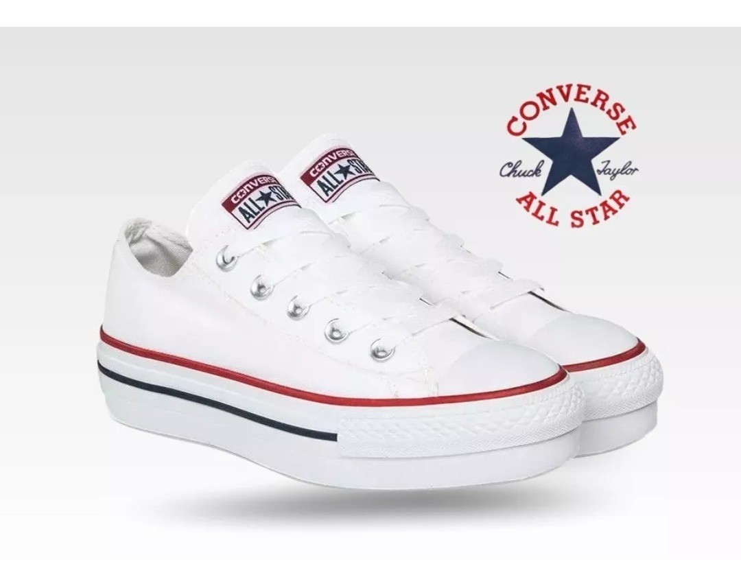 all star converse plataforma blancas