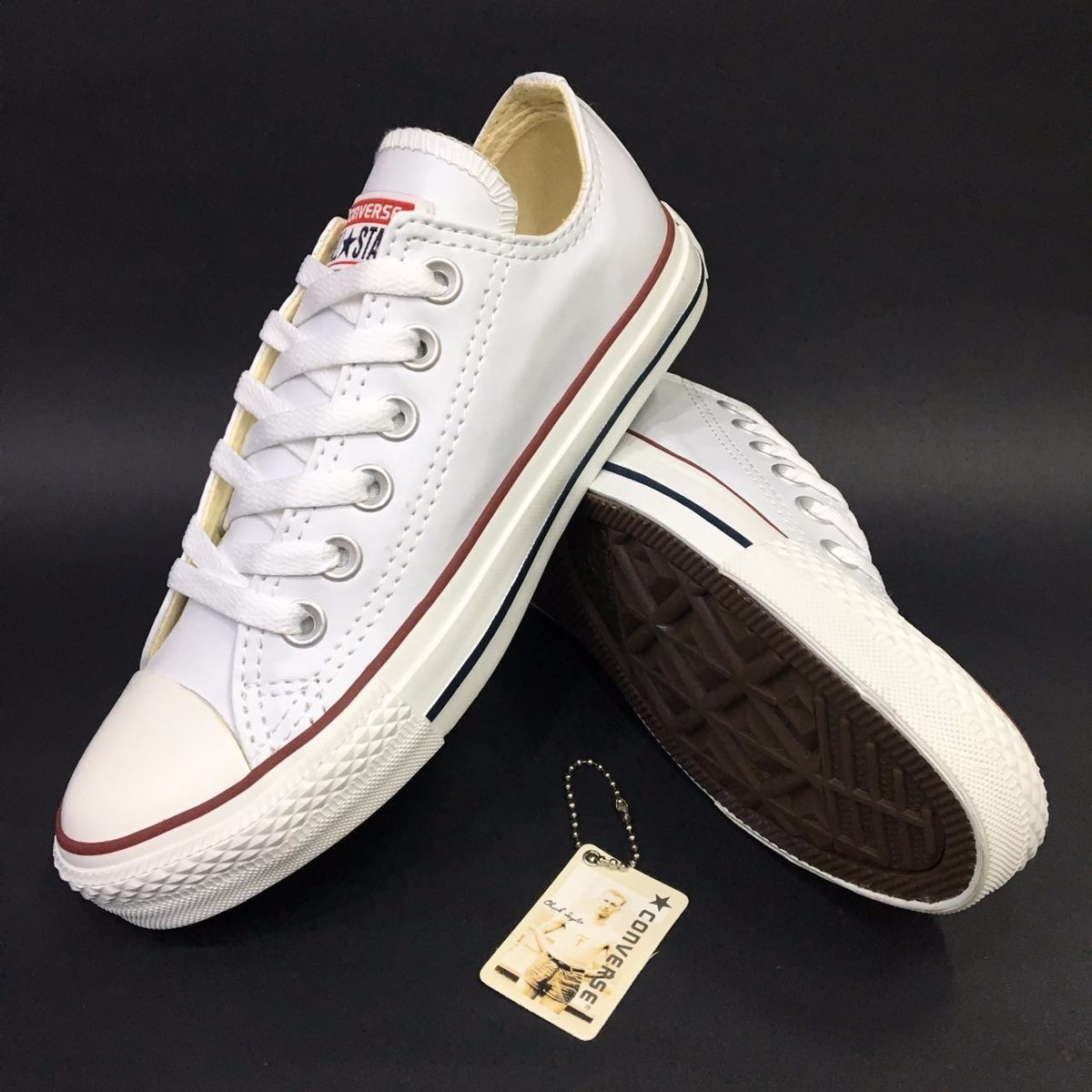 converse all star cuero blanco