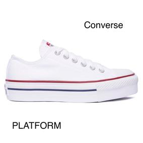 converse mujer con plataforma blancas