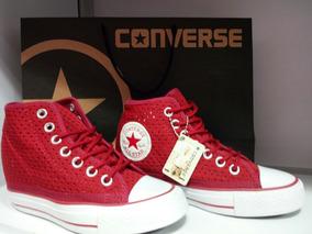 zapatillas converse tacon altas mujer rojas