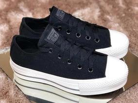 zapatillas converse plataforma mujer negras