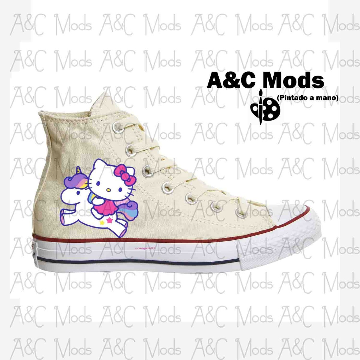 bf648d6f65fd converse hello kitty magic pony beige pintado a mano. Cargando zoom.