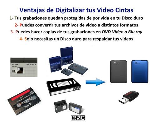 conversión betamax vhs vhsc video 8 hi8 minidv dvc hdv & dvd