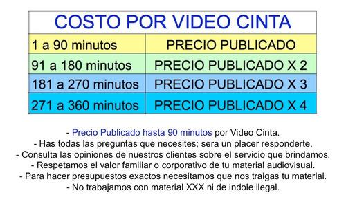 conversion de beta vhs video 8 hi8 d8 minidv dvcam hdv a dvd