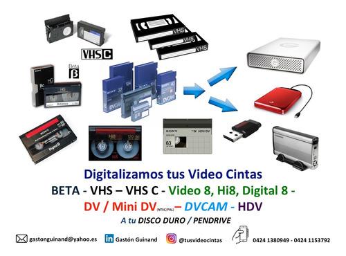 conversión de betamax vhs video 8 hi8 d8 mini dv dvcam & dvd