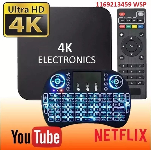 conversor a smart tv box android mini 1gb netflix + teclado