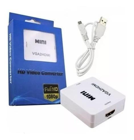 conversor activo vga - hdmi full hd 1080 c/ audio adaptador