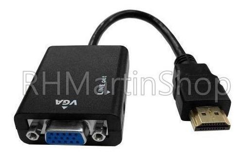 conversor adaptador entrada vga p/ saída hdmi + cabo p2 aux
