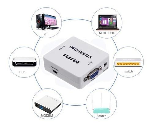conversor adaptador  vga a hdmi full hd 1080p con audio
