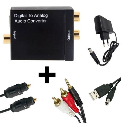 conversor áudio digital p/ rca c/ cabo optico 3m + p2 x rca