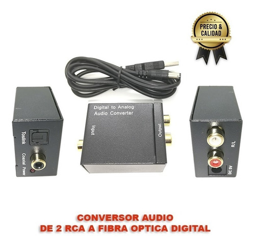 conversor audio fibra optica digital a 2 rca p/ tv smart co9