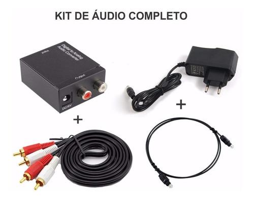 conversor audio p/ rca + cabo optico toslink + cabo rca